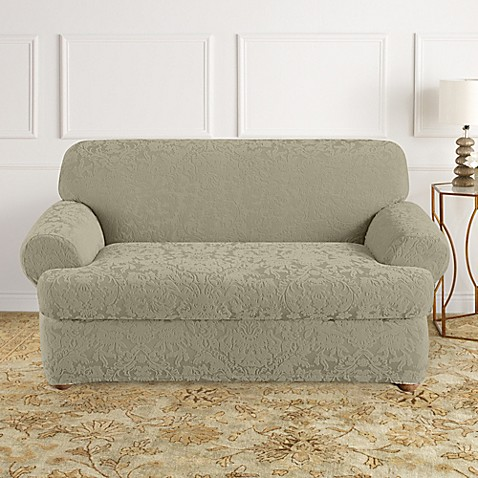 Sure Fit® Stretch Jacquard T-Cushion 2-Piece Loveseat Slipcover in Sage