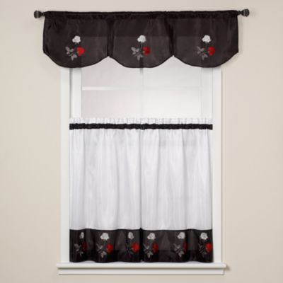 Rose Black Inverted Window Valance