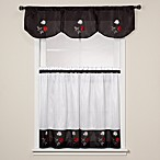 Rose Black Window Curtain Tiers