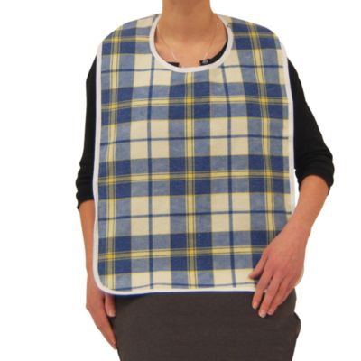 Lifestyle Essentials Large Flannel Bib in Blue/Yellow