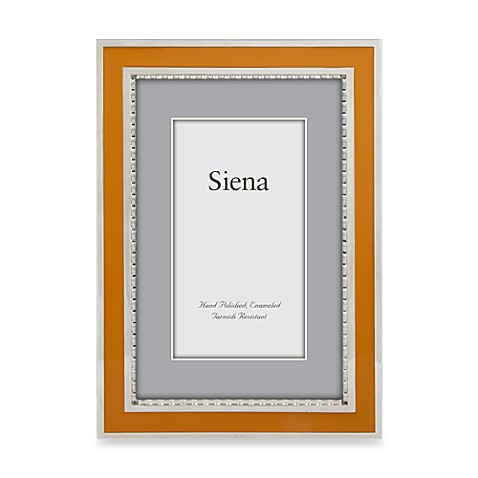 Siena Silver Plated Orange Enamel 4-Inch x 6-Inch Wide Border Picture Frame
