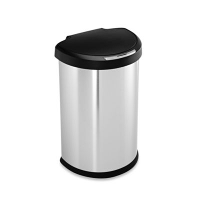 simplehuman® Brushed Stainless Steel Fingerprint-Proof Semi-Round 45-Liter Sensor Trash Can