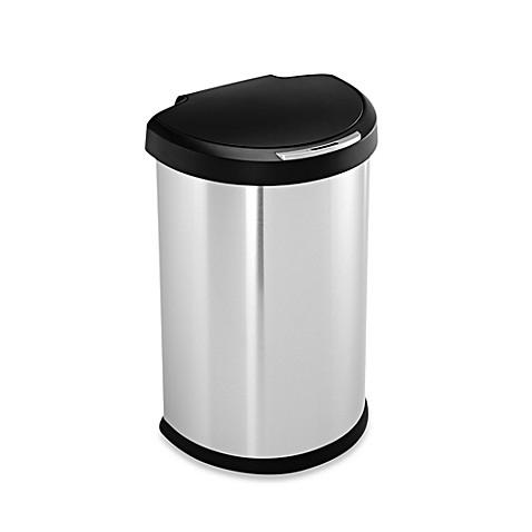 simplehuman brushed stainless steel fingerprint proof semi round 45 liter sensor trash can. Black Bedroom Furniture Sets. Home Design Ideas