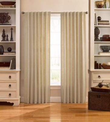 Catania 108-Inch Velvet Back Tab Window Curtain Panel in Ivory