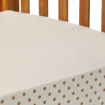 TL Care® Organic Cotton Crib Sheet in Natural with Mocha Polka-Dots