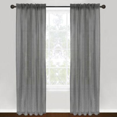 Park B. Smith Vintage House Loire Rod Pocket 84-Inch Window Curtain Panel - Black