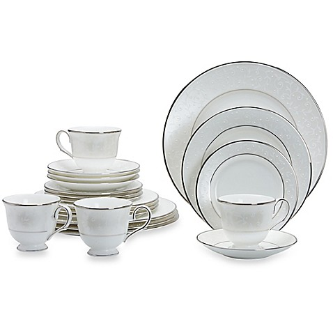 Lenox® Opal Innocence™ 20-Piece Dinnerware Set in White/Platinum