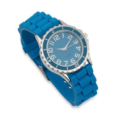 Round Enamel Bezel Rubber Strap Watch in Turquoise