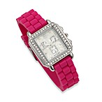 Rectangle Faux Crystal Bezel Fuchsia Rubber Strap Watch