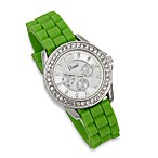 Round Faux Crystal Bezel Green Rubber Strap Watch