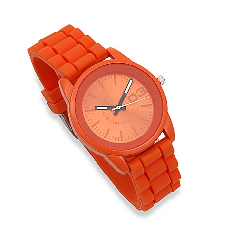 Round Minimal/Monochrome Face Orange Rubber Strap Watch