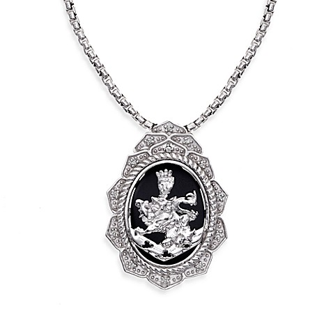 The Official Twilight Jewelry Collection Cullen Crest Women's Onyx & White Topaz Pendant