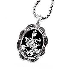 The Official Twilight Jewelry Collection Cullen Crest Women's Onyx & Sapphire or Diamond Pendant