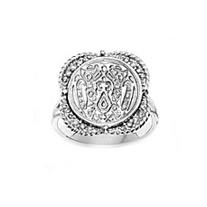 The Official Twilight Jewelry Collection Wolf Pack Women's Sterling Silver White Topaz Ring - Size 8