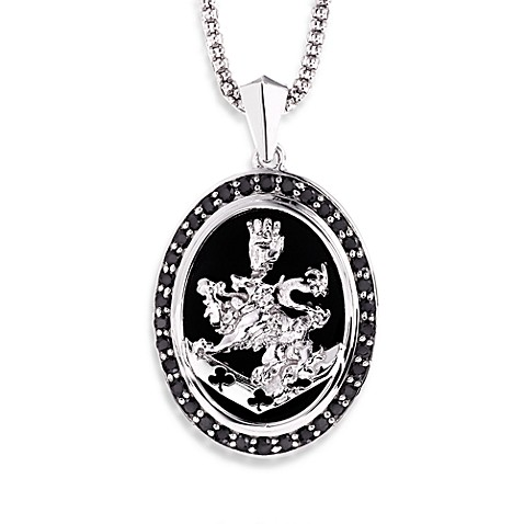 The Official Twilight Jewelry Collection Cullen Crest Sterling Silver Pendant w/Black Diamond/Onyx