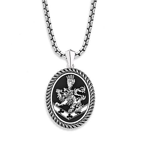 The Official Twilight Jewelry Collection Men's Cullen Crest Sterling Silver Black Onyx Pendant