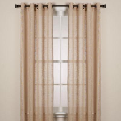 Alton Solid Grommet 108-Inch Window Curtain Panel in Tan