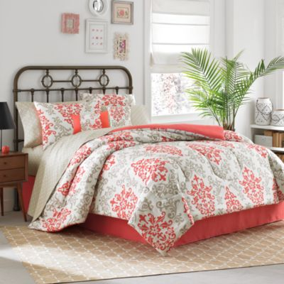 Carina 8-Piece Queen Comforter Set in Coral