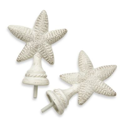Cambria® Complete White Starfish Finials – Set of 2