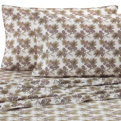 Micro Flannel® Printed Pinecone California King Sheet Set