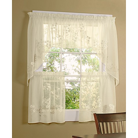 Commonwealth Home Fashions Hydrangea Kitchen Window Tiers