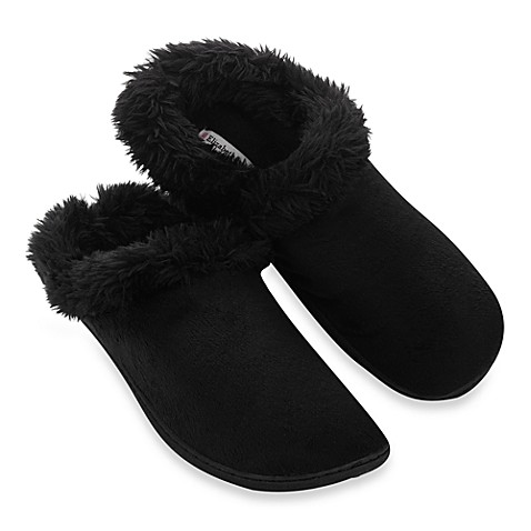 Elizabeth Arden Luxurious Micromink Large Women's Slippers in Black