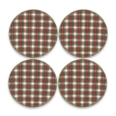 Nikko Tartan Christmas 8 1/4-Inch Salad Plate Set of 4
