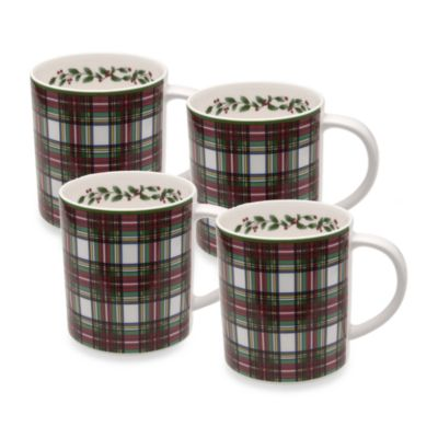 Nikko Tartan Christmas 11-Ounce Mug (Set of 4)