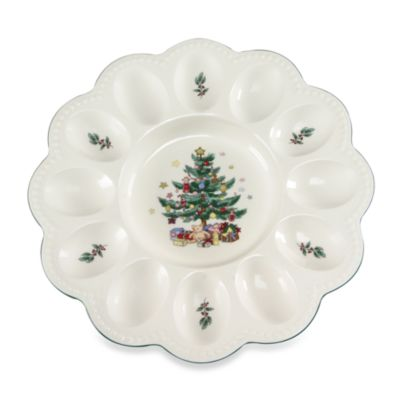 Nikko Christmas Giftware 9 1/2-Inch Deviled Egg Server