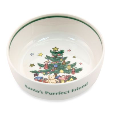 "Nikko Christmas Giftware 5-Inch ""Santa's Purrfect Friend"" Cat Bowl"