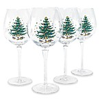Nikko Christmas Glassware 14-Ounce 4-Piece Wine Glass Set