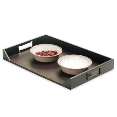 Large Brown Pebble Pet Feeding Platter
