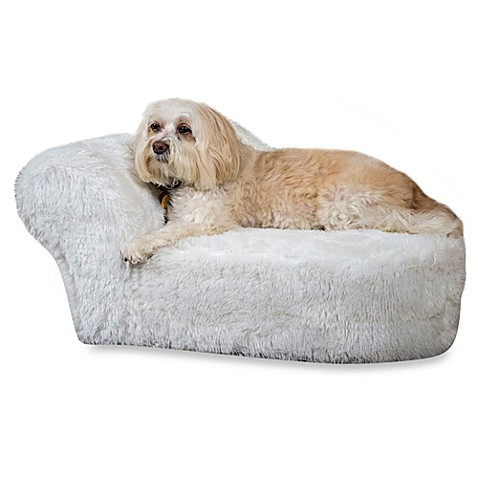Furry Pet Chaise in White