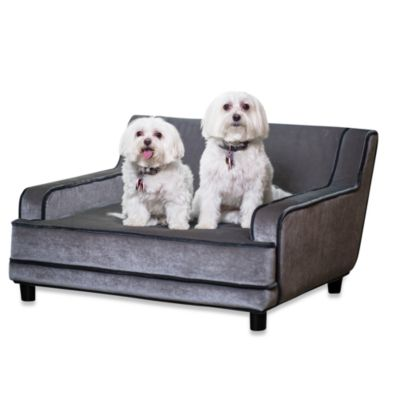 Enchanted Home Pet Mid-Century Modern Pet Sofa in Silver