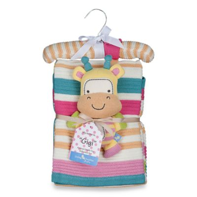 Lolli Living™ by Living Textiles Baby Cotton Knitted Blanket & Rattle Toy in Gigi Giraffe