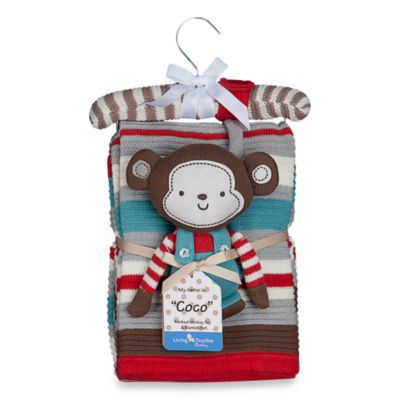Blankets > Lolli Living™ by Living Textiles Baby Cotton Knitted Blanket & Rattle Toy in Coco Monkey