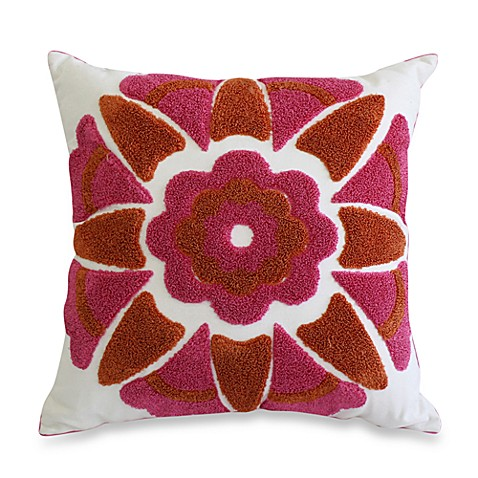 Nostalgia Home™ Loop Stich Embroidered Square Throw Pillow