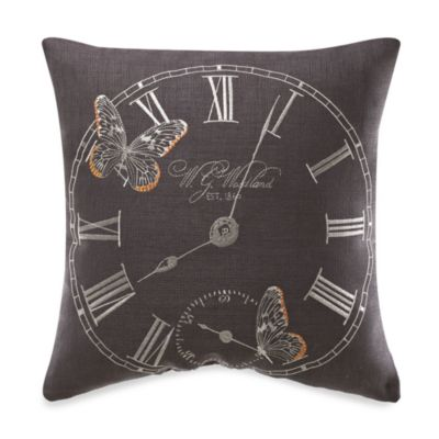 KAS® Letter from Paris Vintage Clock Square Toss Pillow
