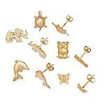 14K Yellow Gold Children's Animal Earrings