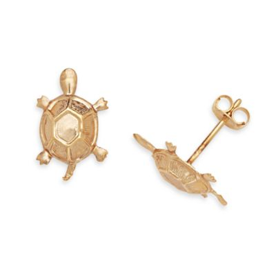 14K Yellow Gold Children's Turtle 12x8mm Earrings
