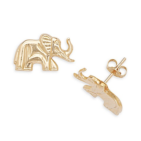 14K Yellow Gold Children's Elephant 8x13mm Earrings
