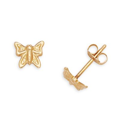 14K Yellow Gold Children's Butterfly 5x6mm Earrings