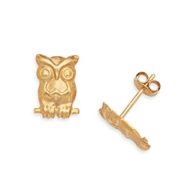 14K Yellow Gold Children's Owl 10x7mm Earrings