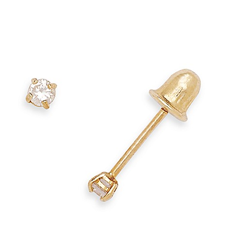 14K Yellow Gold 2MM Children's Round Cubic Zirconia Screw-Back Earrings