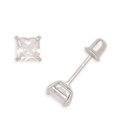 14K White Gold 4MM Children's Square Cubic Zirconia Screw-Back Earrings
