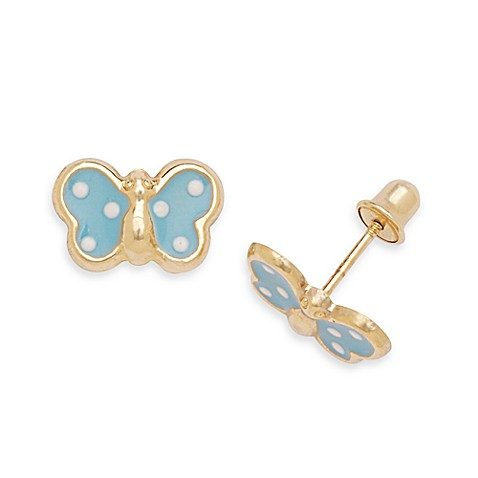 14K Yellow Gold Children's Screw-Back Butterfly Earrings in Blue