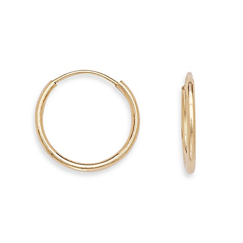 14K Yellow Gold Children's Round Hoop Earrings