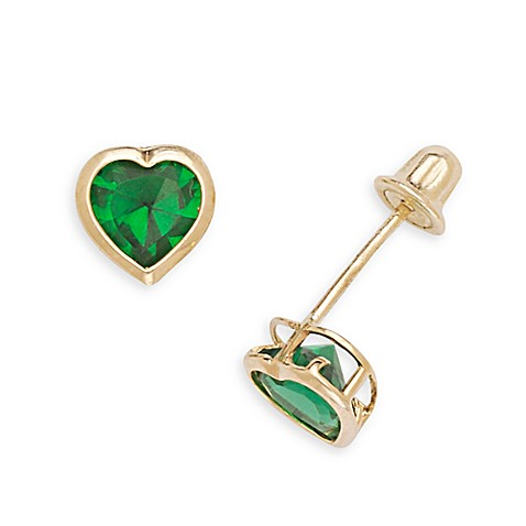 14K Yellow Gold Children's Emerald-Colored Cubic Zirconia Heart Screw-Back Earrings