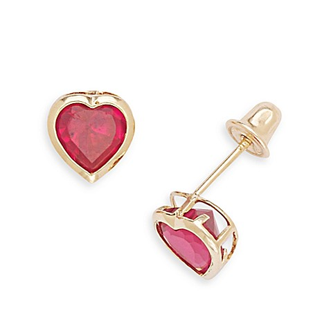 14K Yellow Gold Children's Ruby-Colored Cubic Zirconia Heart Screw-Back Earrings