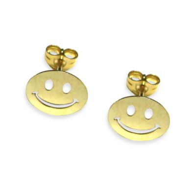 14K Yellow Gold Children's Smiley Earrings in 9 x 9MM